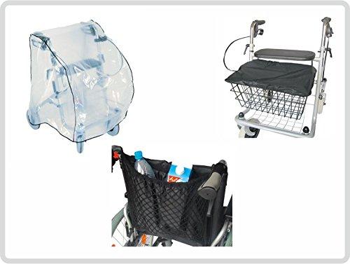 Schutz-Set zum Rollator ( Schutzabdeckunung, Korb - Sitzabdeckung und Einkaufsnetz mit Innenfutter, schwarz )