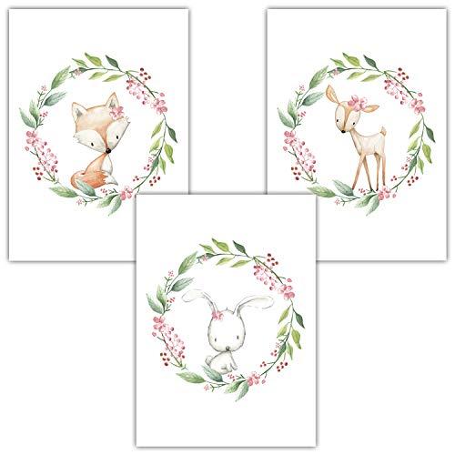 Frechdax® 3er Set Kinderzimmer Poster Babyzimmer Bilder DIN A4 | Mädchen Junge Deko | Dekoration Kinderzimmer | Waldtiere REH Fuchs Hase (3er Set Kranz, Blumen, Waldtiere)