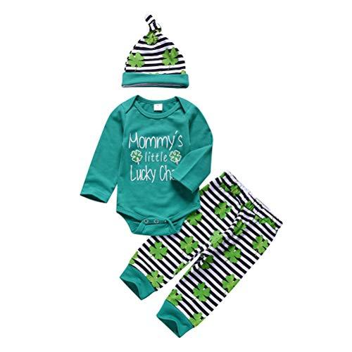 Comtervi st. Patricks Day kostüm Kinder Neugeborene Baby Mädchen Junge Brief Strampler Hosen Set St. Patrick's Day Green - Patrick Mädchen Kostüm