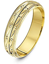 Theia Unisex 9 ct Yellow or White Gold Pips and Groove Design with Millgrain/Beaded Edges,, Polished, 5-7 mm Wedding Ring
