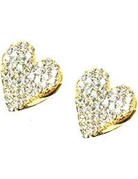 Lovely Heart Shape Diamond Gold Tone Earrings For Girls And Women.