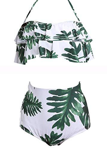 AOQUSSQOA Damen Badeanzug Rüschen Hals Hängen Bikini Sets Zweiteilige Bademode mit Hoher Taille Strandkleidung (EU 34-36 (S), Leaves C)