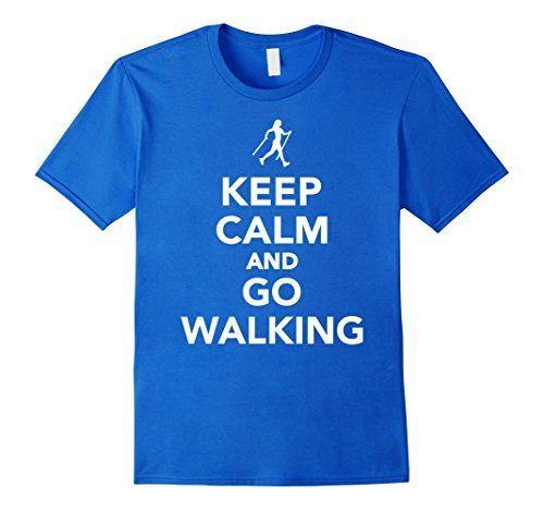 Keep calm and go nordic walking T-Shirt Herren, Größe XL Königsblau
