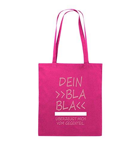 Comedy Bags - Dein Bla Bla Bla überzeugt mich vom Gegenteil. - Jutebeutel - lange Henkel - 38x42cm - Farbe: Schwarz / Weiss-Neongrün Pink / Rosa-Weiss