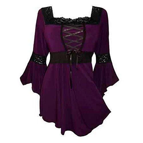 Damen Langarmshirt Blusen - Korsett Top Victorian Gothic Renaissance 3/4 Länge Ärmel Quadratischer Kragen Clubwear Shirt Lila 3XL (Renaissance-shirt Baumwolle)