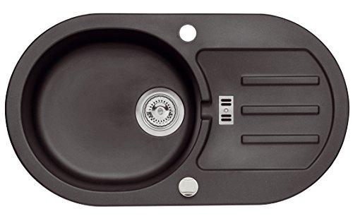 Schwarze Granit Spüle Malibu 30 Spülbecken Küchen Spüle 77x43cm Material Axigran Farbe Axis Schwarz reversibel