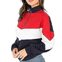 سترة نسائية من DressU بياقة واقفة على طراز صالة هجئة اللون طويلة الأكمام بسحاب من جلد البولي يوريثان احمر US Large