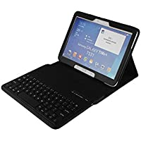 Teclado para tableta Samsung Galaxy Tab 4 10.1 SM-T530 T530 con funda de piel, funda prémium sintética de poliuretano, funda con Bluetooth inalámbrico teclado extraíble y soporte incorporado, funda con autoapagado y encendido T820 (no necesariamente español)