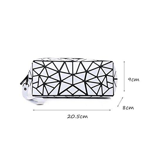 CLOTHES- Sacchetto cosmetico di Geometry Sacchetto di immagazzinaggio portatile Borsa di viaggio Sacchetti di spazzola di rossetto dell'emulsione di acqua ( Colore : Blu ) Bianca