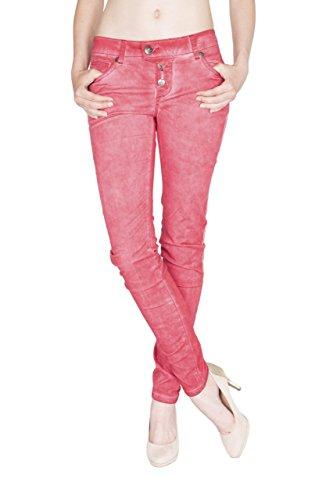 Blue Monkey Damen Skinny Jeans mit offener Knopfleiste Manie 1 red 28/32