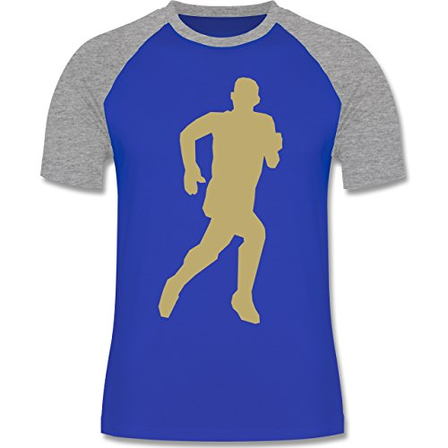 Laufsport - Laufen - zweifarbiges Baseballshirt für Männer Royalblau/Grau meliert