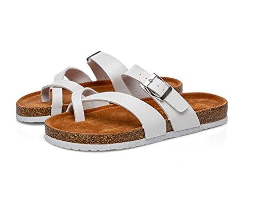 Unisexe Adulte Liège Semelle Tongs Sandales Chaussures de Plage Flip Flops Blanc