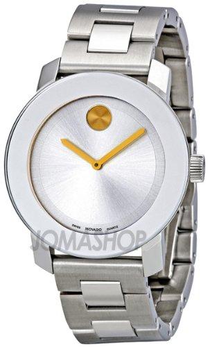 Movado movado grassetto argento quadrante acciaio inox acciaio orologio 3600084