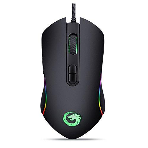 Yocktec USB Wired Gaming Ratón, ratón RGB Fondo óptico Mouse 4800 DPI,...