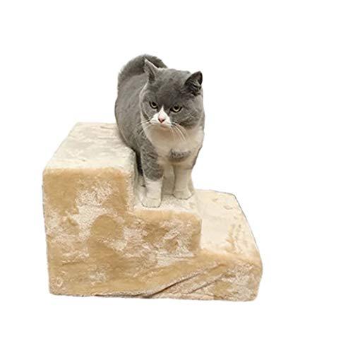 3-steps Pet Treppen,hölzerne Weich Katzenschritte Pet-treppen Atmungsaktive Schlafsofa Pet Bett-leiter Vielseitige Plüsch- Weißer Reis 46x31x36cm(18x12x14inch) -