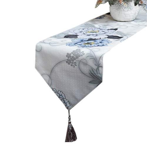FJH Chemin de table Bleu clair et gris Tableau Drapeau En Peluche Impression Mode Simple Nordique Café Lit Mariage Hôtel Banquet 30 cm * 180 cm (taille : 200cm)