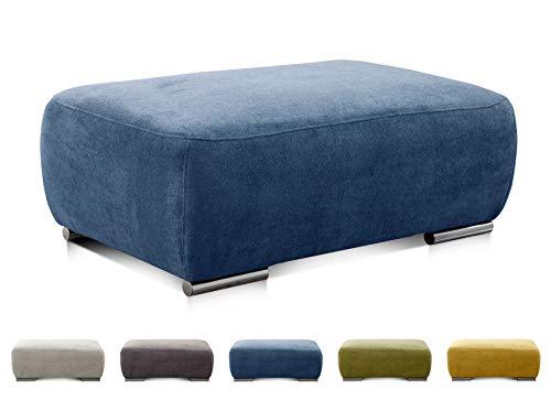 CAVADORE Hocker Tabagos / Moderner Polsterhocker / Sofahocker / Passend zu Polsterserie Tabagos / 110 x 44 x 71  / Blau - Wohnzimmer-polstermöbel, Tisch