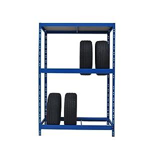 Reifenregal stabil gefertigt | ✓ 179 x 130 x 50 cm | blau | 8 Reifen + 1 Boden | 130 cm breit ✓ 1 Boden max. 200 kg Tragkraft ✓ Werkstattregal Reifenständer Metallregal Garagenregal