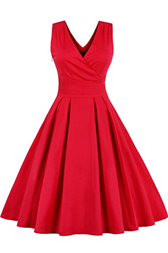 Babyonline Damen Kleid Baumwolle 50er Jahre Retro Rockabilly Cocktailkleid Party Kleid Rot XL