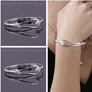 JEWELLERY FOR WOMEN - STUNNING SILVER BRACELET CHARM BRACELET LADIES BRACELET CRYSTAL BRACELET DELICATE JEWELLERY GIFT FOR WOMEN GIRLS LADIES Stunning Silver Plated Bracelet Gorgeous Cuff Fashion Bracelet - Perfect Christmas Gift Birthday Gift