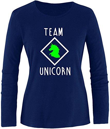 EZYshirt® Team Unicorn Damen Longsleeve Navy/Weiss/Neongr