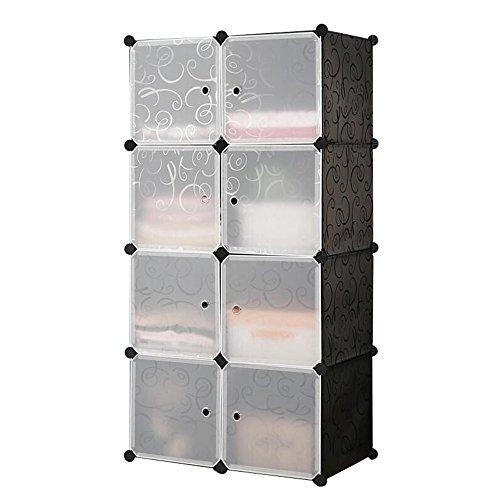 HENGMEI DIY Regalsystem Aufbewahrung Badregale Kleiderschrank Schuhregal Sideboard Schuhschrank Steckregal Badregal mit Schwarz-Muster (8 Boxen mit Tür) (Tür Box)