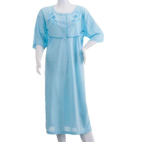 Romesa chemise de nuit à manches courtes unisexe avec broderie féminin-grandes tailles 3XL été tons pastels chemise de nuit en jersey pour homme Bleu - Bleu clair
