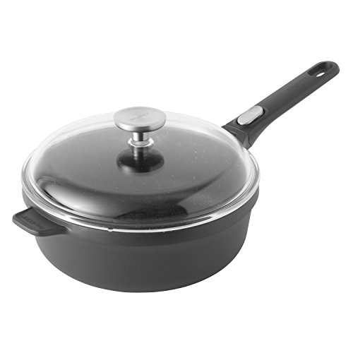 BergHOFF Gem Non-Stick Ceramic Coated Covered Sautepan with Removable Handle, Cast Aluminium, Black, 48 x 25 x 12.5 cm