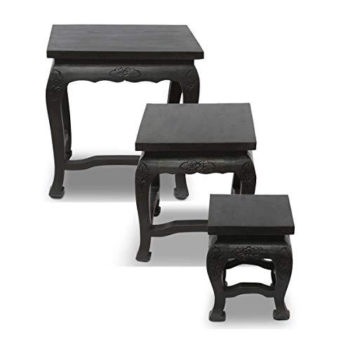 Nachttisch-hocker (Oriental Galerie Opium Hocker Tisch Holzhocker Beistelltisch Nachttisch Blumenhocker Eckig Akazien Holz Barock Massiv, Farbe:Schwarz, Größe:ca. 35 cm x 35 cm x 40 cm (LBH))