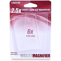 Carson WM-01 - Lupa de cartera de 2.5x/6x aumentos, transparente - Paquete de 2 unidades