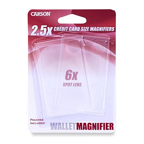 Carson Scheibenlupe mit 2,5-facher, Spotlinse, 6-facher Vergrößerung im Zweierpack klar