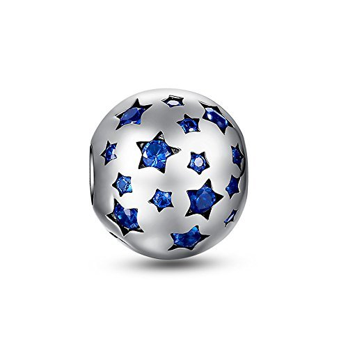 Glamulet Art Women's 925 Sterling Silver Blue Crystal Shiny Star Bead Charm Fits Pandora Bracelet (Shiny Silver Beads)