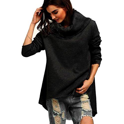 Sannysis Damen Lose Asymmetrisch Jumper Sweatshirt Pullover Bluse Oberteile Oversize Tops (XL, Schwarz2) (Kapuzen Bluse Damen)