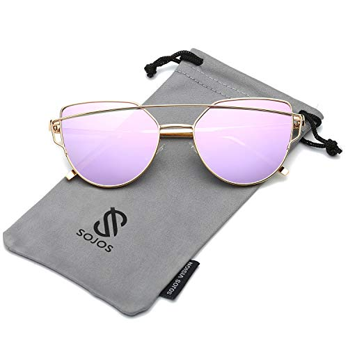 SOJOS Katzenauge Metall Rand Rahmen Damen Frau Mode Sonnenbrille Verspiegelt Linse Women Sunglasses SJ1001 mit Gold Rahmen/Violett Linse