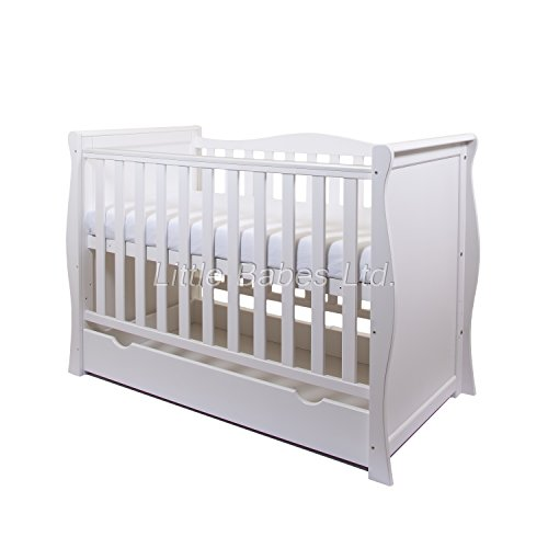 NEW PINEWOOD WHITE SLEIGH MINI COT BED & DRAWER + BRITISH MADE HIGH DENSITY FOAM SAFETY MATTRESS 4''