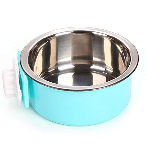 NaiCasy Crate Hundenapf Abnehmbarer Edelstahl Cup Coop hängen Pet Käfig Wasser Feeder Bowl Malaya Futtermittel für Hunde Katzen Kaninchen Vögel (blau) Kleine Waren für Haustiere