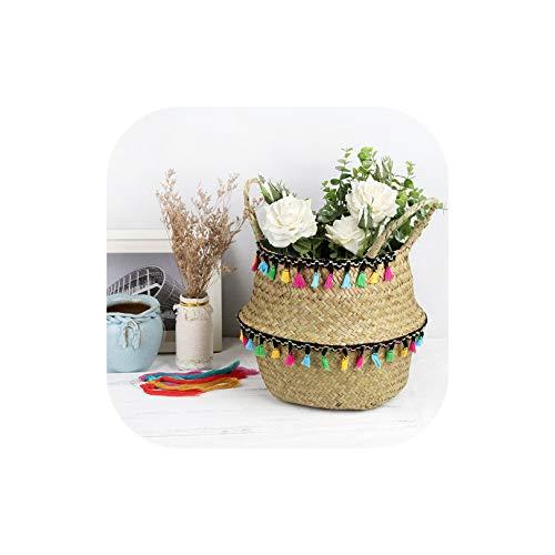 Gezellig Vesper Baskets Folding Seaweed Weidenkorb Makramee Dekoration Speicher-Korb Rattan Blumentopf Weaving Garten Blumentopf Raum, 2,27Cmx24Cm -