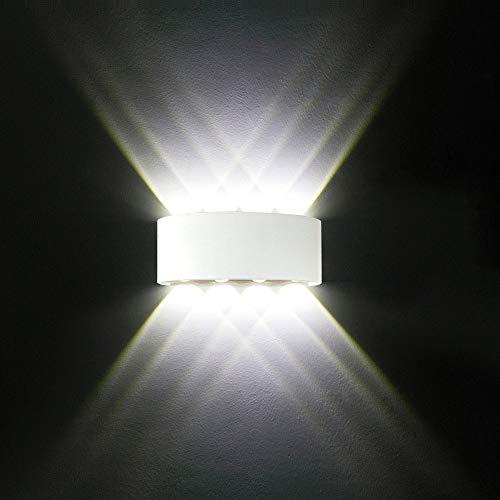 Applique Murale LED Interieur, Moderne 8W Blanc Aluminium étanche Lampe Murale LED Interieur / Exterieur pour Chambre Maison Couloir Salon (Blanc Froid)