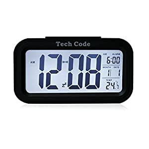 "5.3"" Smart, Simple and Silent LED Alarm Clock w/ Date Display, Repeating Snooze and Sensor Light + Night Light (Black, White night light)"