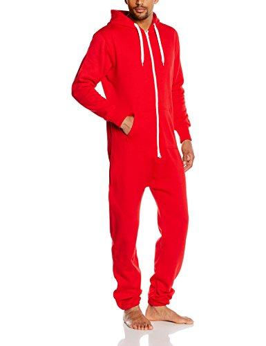Urban Classics Herren Sweat Jumpsuit Einteiler Jogginanzug Red/White, XS/S