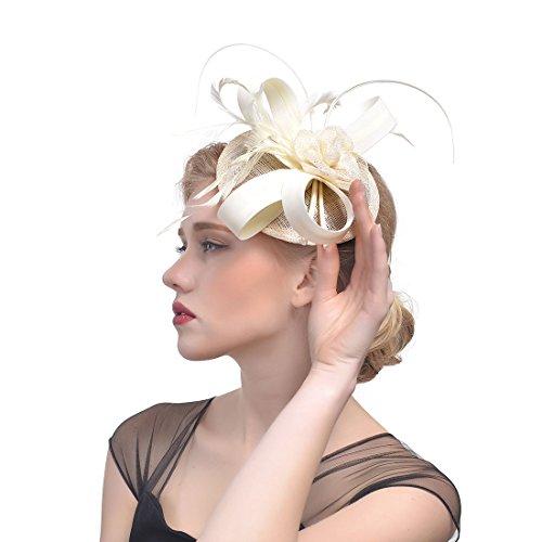 xwanli Elegante Blumen Mesh Netz Schleier Feder Fascinator Haar Klipp Hut Hochzeit Cocktail Stirnband und Einem geteilten Clip Cocktail Tea Party Headwear für Mädchen und Frauen