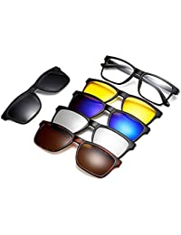 Gizmobitz Black Resin Fashion Glasses and 5 Pieces Different Style Magnetic Inter-Changeable Colour Shades with Pouch