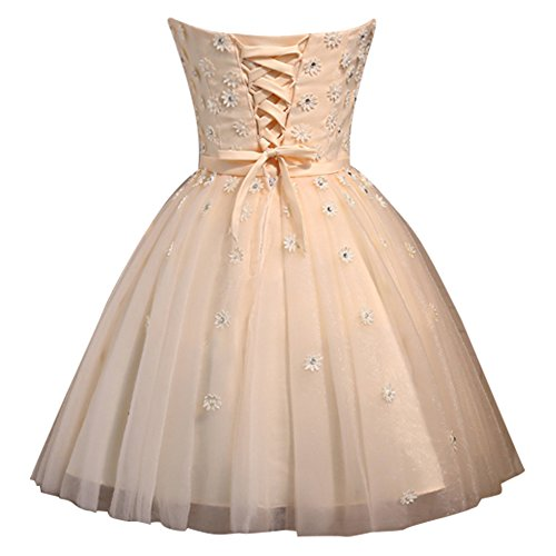 Dressystar Robe femme, Robe de soirée/ cérémonie/ Robe de bal courte à Col en Cœur, Sans Bretelles, aux petites fleurs, en Satin,tulle Lavande