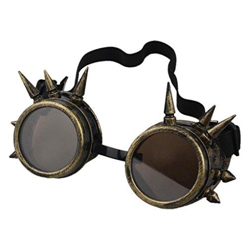 TUDUZ Vintage StilRivet Steampunk Winddicht Spiegel Weinlese Gotische Objektive Goggles Cosplay Brille (D)