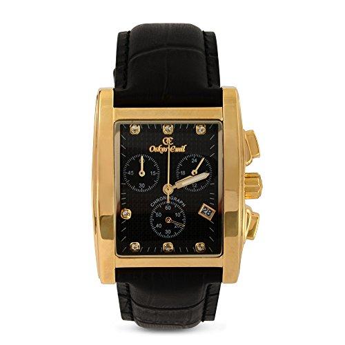Oskar Emil Men's Quartz Watch with Black Dial Chronograph Display and Black Leather Strap Rodez Gold/Black