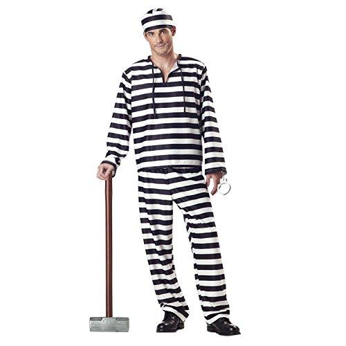 Lisli Halloween Kostüm Unisex Erwachsene Gefangener 3tlg. Sträfling Uniform Langarmshirt Langhose und Einen Hut (Herren, EU XS=Etikett M)
