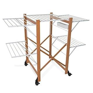 ARREDAMENTI ITALIA Wäscheständer ALIANTE, Holz - Klappbar - Ausziehbar 25 mt Leine - Farbe: Kirsche Holz AR-It il Cuore Del Legno