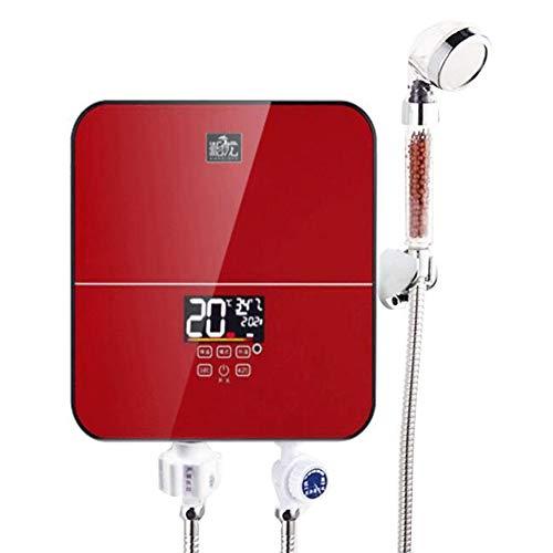 BTSSA 30 cm Tankless Elektrischer Durchlauferhitzer,Platz Automatisches Heizen Schulhotel Badezimmer Haus Küche Dusche Heizungsaufsatz (Rot)