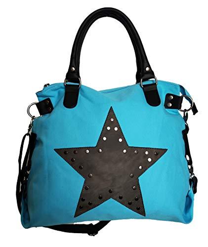 Star Bag Niet Vintage Stern Damen Tasche Fashion Shopper Henkeltasche Canvas Stoff mit Niete (Türkis) - Star Canvas-tasche