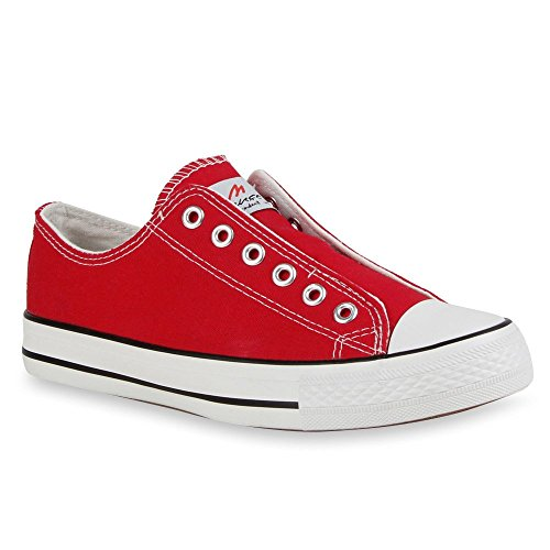 Damen Sneakers Kult Sportschuhe Stoffschuhe 71397 Gr. 36-41 Rot